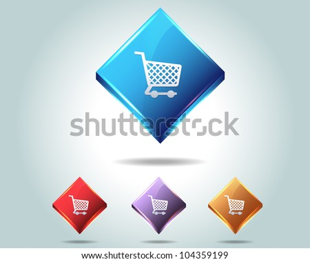 Vector Glossy Shop Basket Icon/Button and multicolored - stock vector