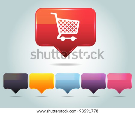 Vector Glossy Shopping basket icon and multicolored - stock vector