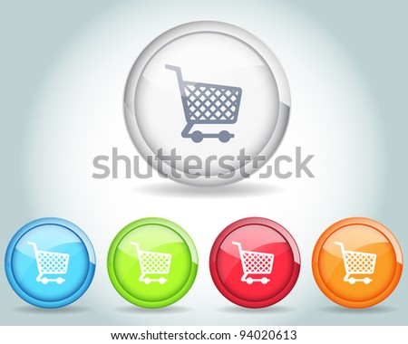 Vector Glossy Shopping basket icon and multicolored