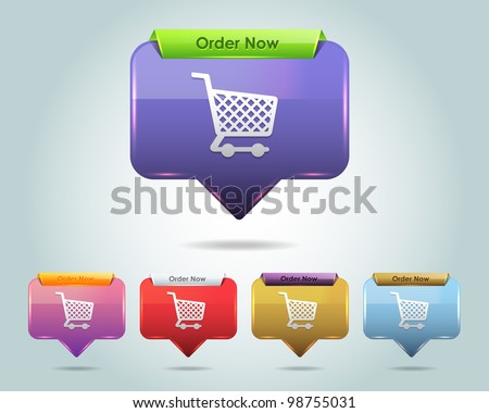 Vector Glossy Shopping Basket - Order Now Button/Icon and multicolored - stock vector