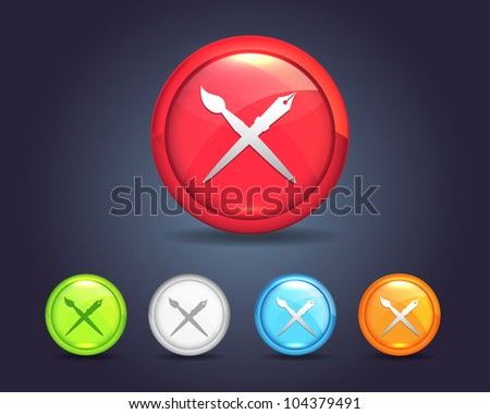 Vector Glossy Sphere Design Tool Brush Pen Icon/Button and multicolored - stock vector