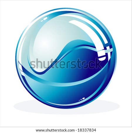 VECTOR Glossy Sphere with Shadow - stock vector