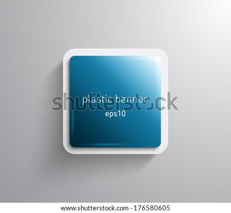 Vector glossy square banner with plastic style for business design - stock vector