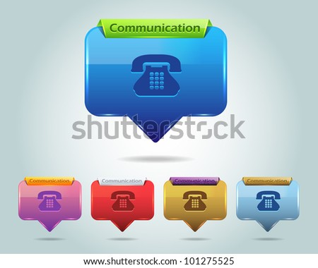 Vector Glossy Telephone Icon/Button and multicolored - stock vector