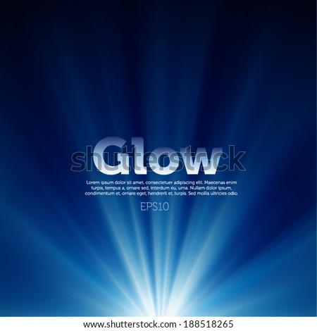 Vector glow on blue background - stock vector