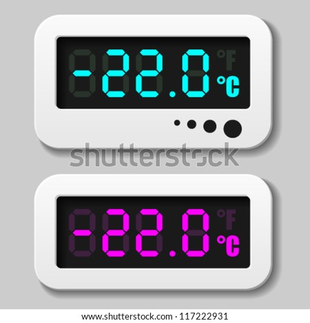vector glowing digital thermometer icons - stock vector