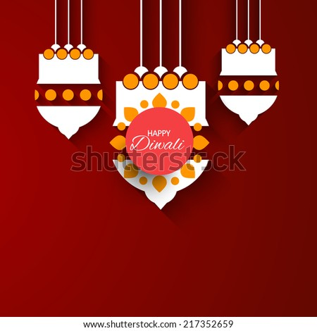 Vector glowing hanging Kandil for Diwali Festival. - stock vector