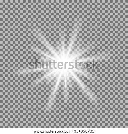 Vector glowing light burst with sparkles on transparent background. Transparent gradient star, lightning flare. Magic, bright, natural effects. Abstract texture for your design and business. - stock vector