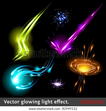 Vector glowing light effect set. Sparkling design element collection. - stock vector