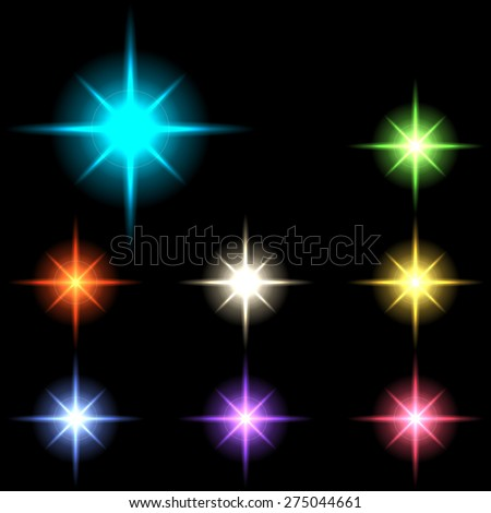 vector glowing lights, stars and sparkles 5 - stock vector