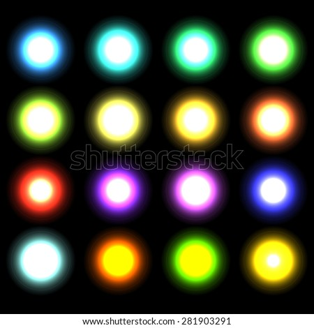 Vector glowing lights, stars and sparkles  - stock vector