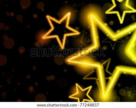 Vector - Glowing Neon Stars Background - stock vector