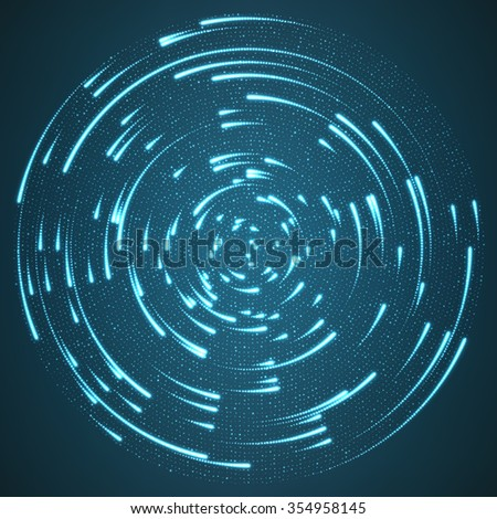 Vector glowing particles flying around the center leaving trails. Radar like blue background. Spinnig shining comets. Elegant modern geometric wallpaper. - stock vector