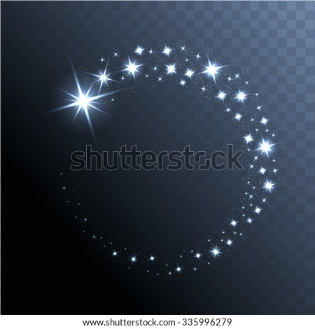 Vector glowing stars, lights and sparkles. Transparent effects - stock vector