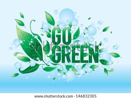 vector go green symbol style design - stock vector