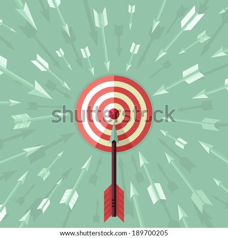 Vector goal achievement concept in flat style - aim and arrows - stock vector