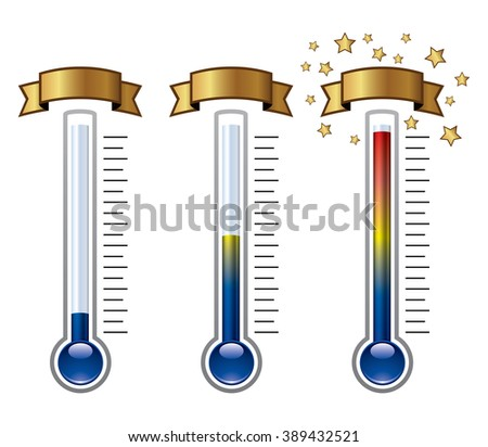 vector goal thermometers at different levels - stock vector