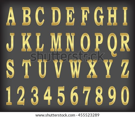 Vector gold alphabet set illustration EPS10 - stock vector