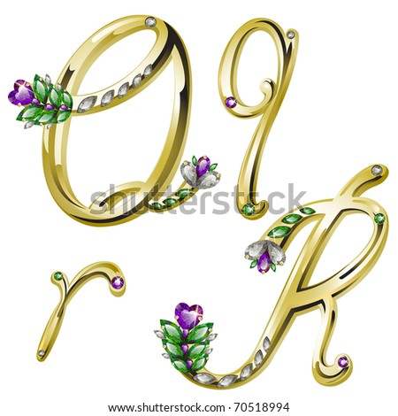 Vector gold alphabet with diamonds and gems letters Q, R - stock vector