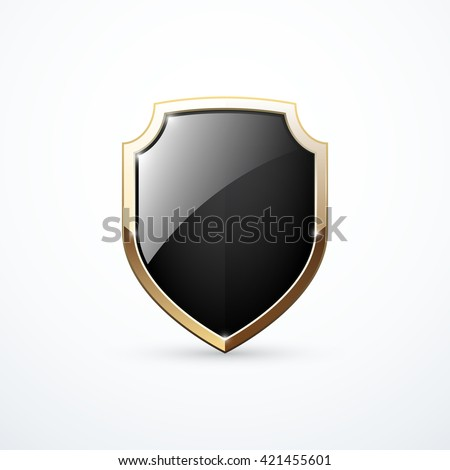 Vector gold and black shield - stock vector