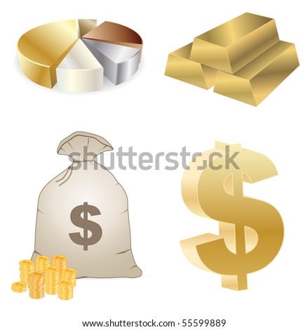 vector gold and money - set - stock vector