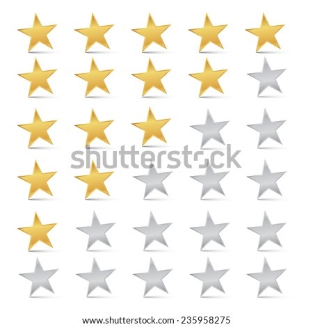 Vector Gold and Silver Stars Set - Rating Symbols - stock vector