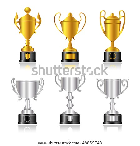 Vector gold and silver trophies or cups with black bases. JPG and TIFF image versions of this vector illustration are also available in my portfolio. - stock vector