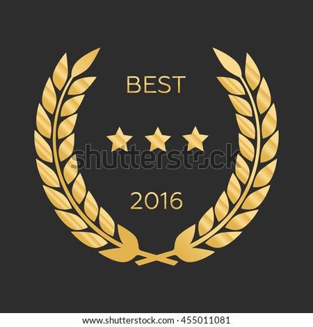Vector gold award wreaths, laurel victory eps10 - stock vector