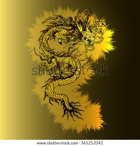 Vector gold background plate with a Chinese dragon, there is a place for your text or image. - stock vector