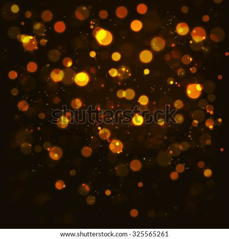 Vector gold bokeh abstraction background. Glitter defocused illustration - stock vector