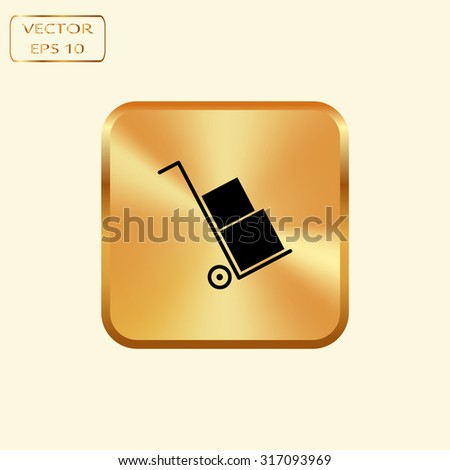 Vector gold button with Icons set shipping and delivery  - stock vector