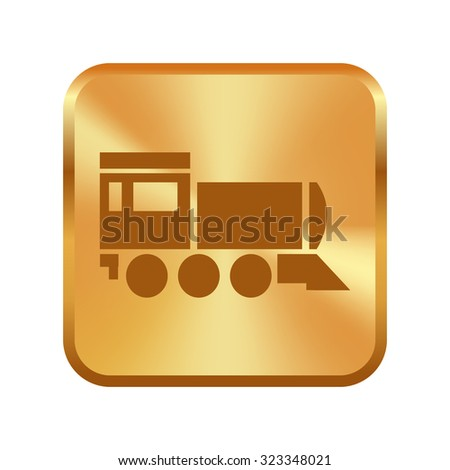 Vector gold button with Locomotive icon . Vector illustration. - stock vector