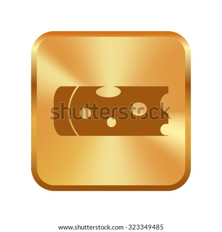 Vector gold button with Piece of cheese isolated