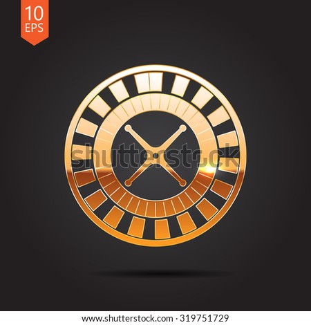 Vector gold casino roulette wheel icon on dark background  - stock vector