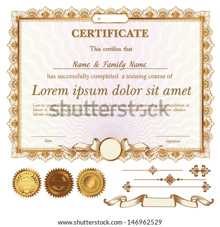 vector gold certificate or coupon template with additional design elements - stock vector