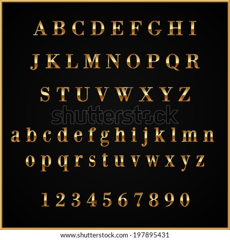 Vector gold coated alphabet letters and digits on black background