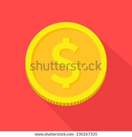 Vector gold coin icon,flat style with long shadows on red background - stock vector