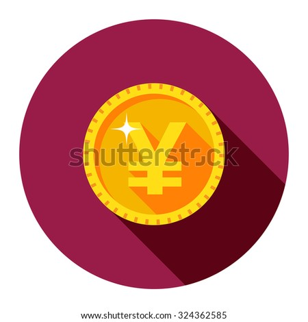 Vector gold coin.  Yuan. The flat style.