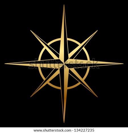 Vector gold compass rose icon - stock vector