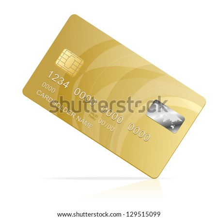 Vector gold Credit Card isolated - stock vector
