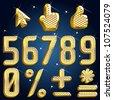 Vector gold diamond font abc Part 4 - stock vector