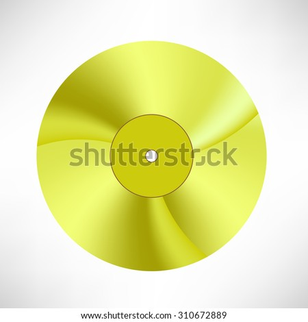 Vector Gold Disc Isolated on White Background. Musical Record. Yellow Vinyl Icon - stock vector