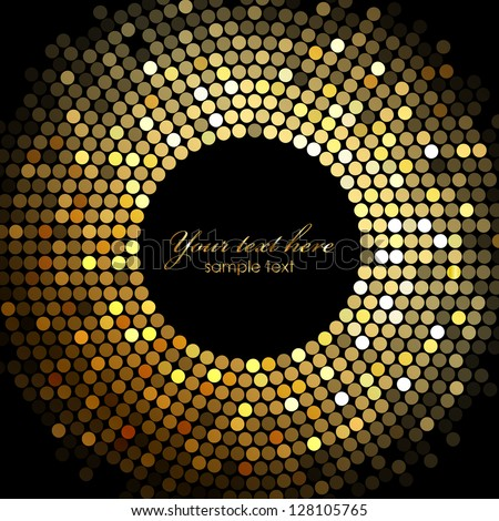 Vector gold disco lights frame - stock vector