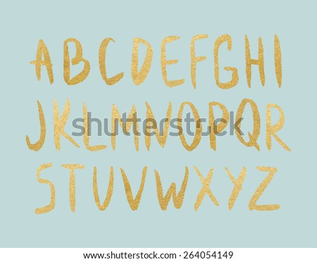 Vector gold foil letters on mint background. Hand drawn golden letters. Vector modern type. - stock vector