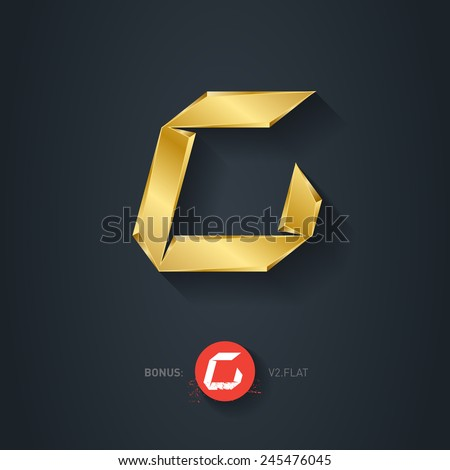 Vector gold font, Letter C. Pseudo origami style, including flat version. Elegant Template for company logo. Metallic Design element or icon. - stock vector