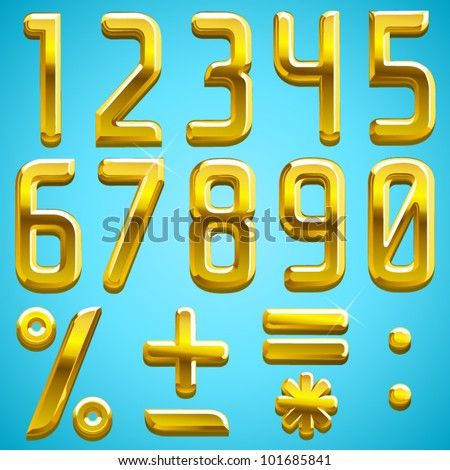 Vector gold font numbers, find the full alphabet by clicking on my portfolio, thank you - stock vector