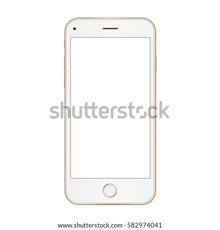Vector gold frame mobile phone with empty screen isolated on white background. Vector realistic illustration.