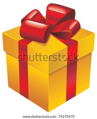 Vector gold gift box with red silk ribbon and bow - stock vector