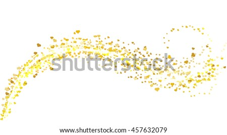 Vector gold glitter wave abstract background, golden heart sparkles  on white background