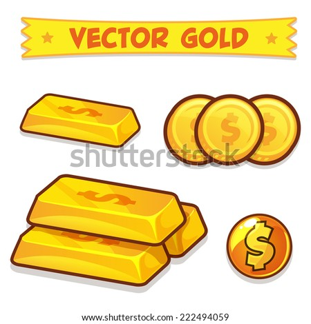 Vector Gold Ingots, Coins icons isolated on white background - stock vector